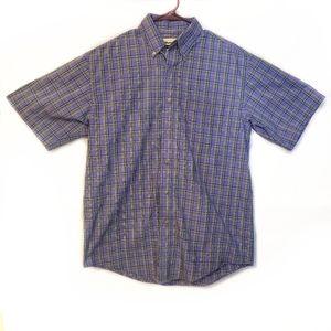 Wrangler Riata Button Down Shirt Plaid Purple Blue